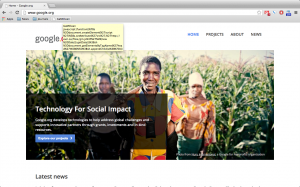 Homepage of Google.org.