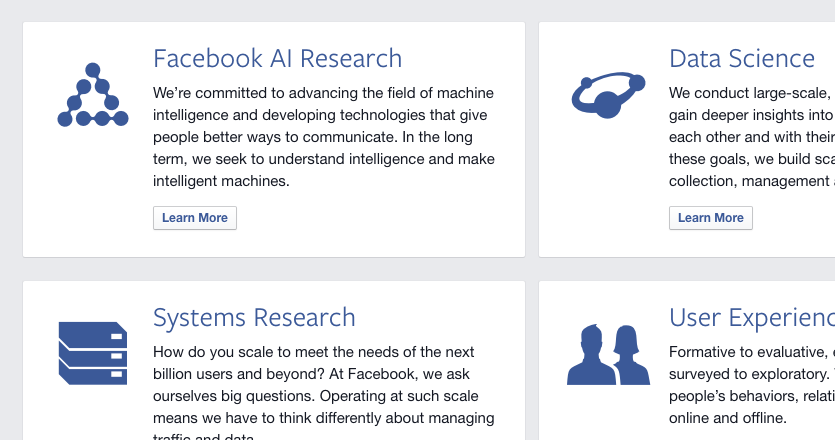 Screenshot from Facebook's Research Page.